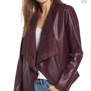 Teagan Reversible Faux Leather Drape Front Jacket